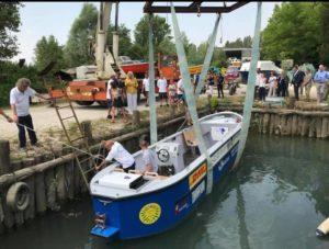 Il varo della barca elettrica CARGO 31