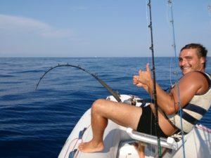 Mattia sulla barca