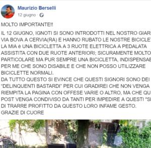 La denuncia su Facebook di Maurizio Berselli